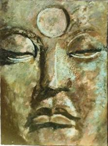 Face of Buddha, oil painting, 1969, by Janet D. Luongo