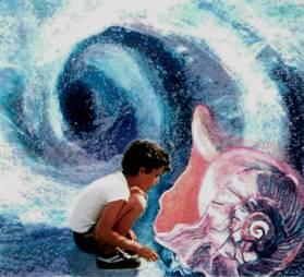 Wonder! little boy, shell & wave